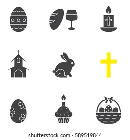 Easter glyph icons set. April 16 silhouette symbols. Wine and bread, cross, church, Easter bunny, eggs in basket, cake with candle. Vector isolated illustration