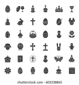 Easter glyph icons set. April 16 silhouette symbols. Easter eggs, bunny, lamb, chicken, cake, Holy Bible, Christian crucifix, church, butterfly, candles, calendar. Vector isolated illustration