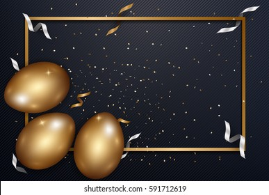 Easter gold eggs with confetti gold and dark metal texture place for text abstract background.vector illustration