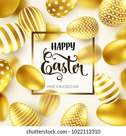 Easter golden egg with calligraphic lettering, greetings. Traditional spring holidays in April or March. Sunday. Eggs and gold.