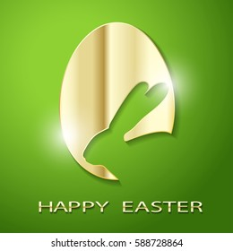 Easter Golden Egg silhouette of a Rabbit on a green background. Icon Vector Illustration