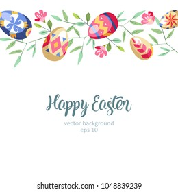 Easter great horizontal floral background with colored easter eggs growed at branch of tree