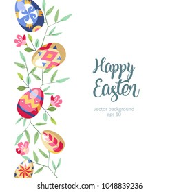 Easter great vertical floral background with colored easter eggs growed at branch of tree