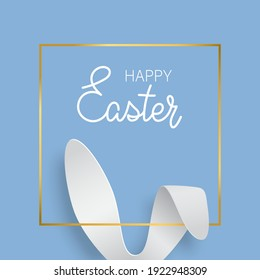 Easter greeting card with bunny ears and gold texture frame. Vector 3d abstract paper cut illustration. Copy space for text. Easter rabbit with lettering Happy Easter on blue background. - Shutterstock ID 1922948309
