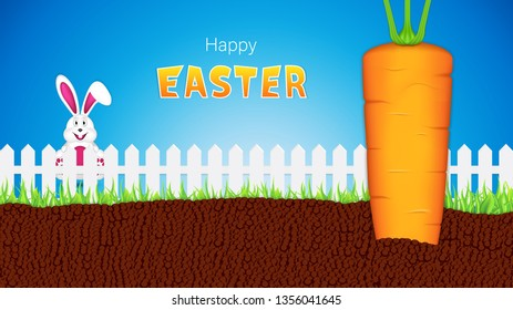 Easter greeting card with bunny looking at carrot over the fence, vector illustration