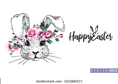 Easter greeting card with bunny with wreath and text: happy Easter. Hand drawn illustration with paschal lettering. Spring poster for pre-Easter and post-Easter congratulations.