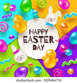 Easter greeting card. Colorful marmalade and candys in the shape of rabbits, chickens, eggs and other forms on a multicolored paper background. Vector illustration.
