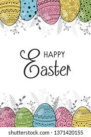 Easter greeting card with decorative eggs. Vector