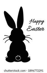Easter greeting card design with black bunny sitting rabbit back silhouette with white inscription Happy Easter, spring twig and decorated eggs. Vector EPS 10 illustration.