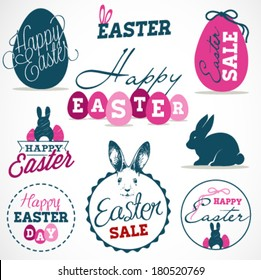 Easter Greeting Card Design Elements, Labels and Badges in Vintage Style. Vector Illustrations