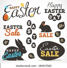 Easter Greeting Card Design Elements and Easter Sale Badges and Labels in Vintage Style. Vector Illustrations