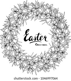 Easter greeting card design with floral wreath