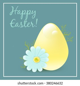 "Easter Greeting Card. Easter egg and chamomile. Vector illustration. Greeting Card ""Happy Easter!""."