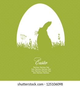 Easter greeting card with egg and rabbit