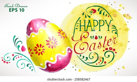 Easter greeting card hand-painted with watercolor