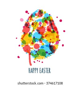 Easter greeting card with multicolored egg made from watercolor splashes, stains and blots. Abstract Easter background. Easter creative painted egg isolated on white background.