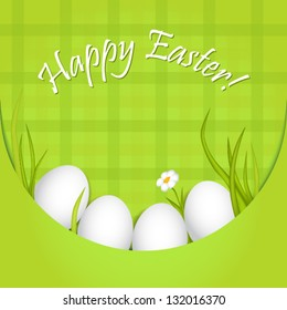 Easter greeting card with paper pocket, eggs, grass and flower
