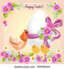 Easter greeting card of paschal egg with floral bow ribbon, chicken and chicks in spring flowers. Vector Easter greeting card design for Resurrection Sunday religion holiday