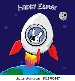 Easter greeting card, poster or t-shirt print design. Bunny inside Egg spaceship starts from Earth to Space. Cartoon style, vector