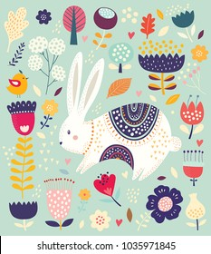 Easter greeting card. Vector illustration with cute bunny and beautiful flowers.