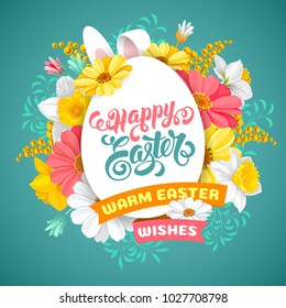 Easter greeting cute design with spring flowers daisy, mimosa and daffodils, calligraphy inscription Happy Easter on egg silhouette on turquoise background. Vector Illustration.