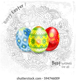 Easter greeting festive design with realistic painted eggs and elements of spring holidays in doodle style on background. Vector illustration.