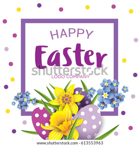 Easter greetings banner vector illustration bouquet stock vector easter greetings banner vector illustration of a bouquet of flowers daffodils and easter egg m4hsunfo