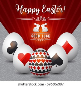 Easter greetings card with red and black symbols over white eggs, vector illustration. Decorative composition suitable for invitations, greeting cards, flyers, banners.