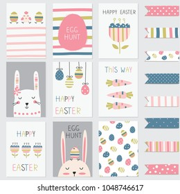 Easter greetings cards set with cute rabbits, eggs, flowers and abstract elements