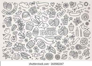 Easter hand drawn vector symbols and objects