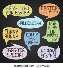 Easter hand-drawn colorful humorous phrases on chalkboard background, eps10