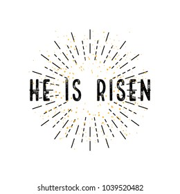 Easter, He is risen, in flat design on a white background