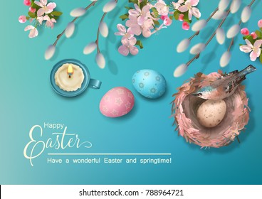 Easter holiday background with a bird in the nest, eggs, pussy willow branches, Apple blossoms, feathers. Vector top view illustration