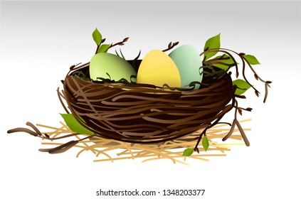 Easter holiday background with Easter eggs