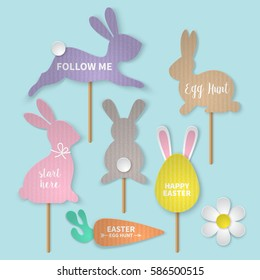 Easter holiday banner design with bunny and eggs cardboard paper silhouette. Realistic vector illustration