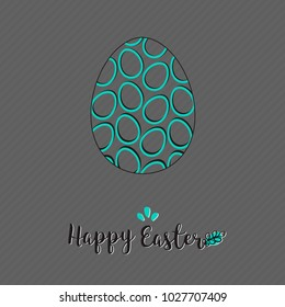Easter holiday card with egg on grey background