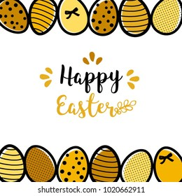 Easter holiday card with gold eggs