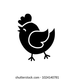 Easter Holiday chick vector Icon. Solid flat line Chicken or Cock silhouette. Easter concept. Eps 10