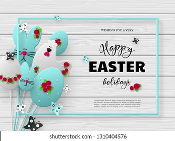 Easter holiday design. Greeting text, 3d paper cut eggs, bunnies and hens decorated flowers with frame and butterfly. White wooden background. Vector.
