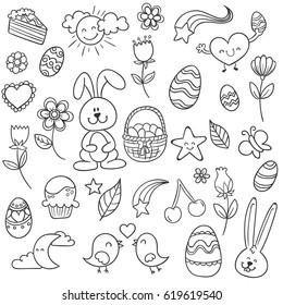 Easter Holiday design sketchy set. Vector illustration