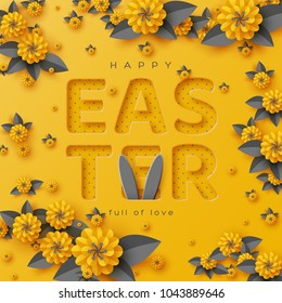 Easter holiday greeting card. Paper cut flowers yellow and grey colors, holiday background. Vector illustration.