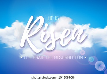 Easter Holiday illustration with heavenly light and cloud on blue sky background. He is risen. Vector Christian religious design for resurrection celebrate theme.