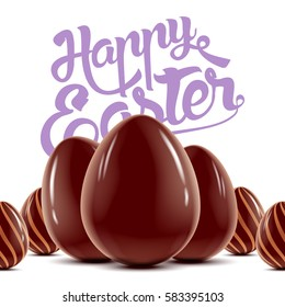 Easter holiday postcard with lot of decorated chocolate eggs, vector realistic illustration with greeting lettering, isolated on white background and ready for your design