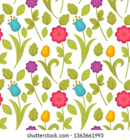 Easter holiday spring flowers tulips seamless pattern vector plant floral theme stem and bud blossom endless texture botany and flora elements wallpaper nature and environment greenery and floristry