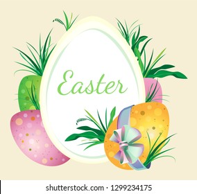 Easter holiday vector illustration with painted eggs and grass on pastel beige background