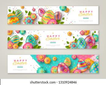Easter horizontal banners with colorful ornate eggs, flowers and confetti. Vector illustration. Place for your text