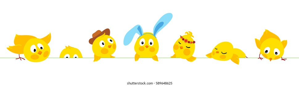 Easter horizontal border with cute chicks, vector background