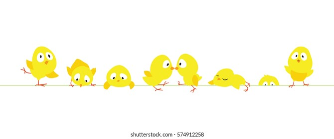 Easter horizontal border with funny cute chickens, Flat vector illustration