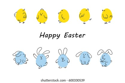 Easter horizontal borders with funny cute chickens and rabbits, Flat vector illustration