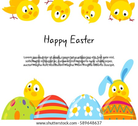 Easter Horizontal Frames Cute Funny Chicks Stock Vector (Royalty ...